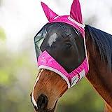Harrison Howard CareMaster Pro Luminous Fliegenmaske UV-Schutz mit Ohrenschutz Rosa Warmblut (L)