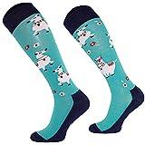 Comodo 3 Paar lustige Tiersocken witzig für Mädchen & Jungs   unterschiedliche Reitstrümpfe   Tier Socken Geschenk   Kniestrümpfe Kinder   Reitsocken mit Tiermuster   SJBW, 021 Lama, Gr. 35-38