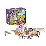 Schleich 42369 Horse Club Spielset - Pferdebox mit Arabern und Pferdepflegerin, Spielzeug ab 5 Jahren