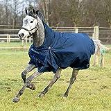horze Avalanche Pro leichte Weidedecke Regendecke für Pferde, 1200D für den Einsatz bei Regen oder mildem Wetter, Blau, 145