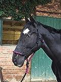 Knotenhalfter mit Strick für Pferde – gepolstert an Nase und Genick, ideal für Bodenarbeit, Pferdeausbildung, Training (schwarz-pink)