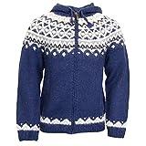 ICEWEAR Skjöldur Handgestrickter Pullover aus 100 % isländischer Wolle mit Reißverschluss und Kapuze.
