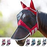 Harrison Howard CareMaster Pro Luminous Fliegenmaske UV-Schutz Ohren und Nasenschutz Rot Warmblut (L)