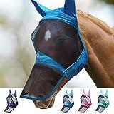 Harrison Howard CareMaster Pro Luminous Fliegenmaske Lange Nase mit Ohren UV-Schutz für Pferde-Blaugrün (L)