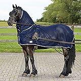 QHP Fliegendecke speziell für Fahrpferde mit Halsteil und Öffnungen für das Fahrgeschirr (90 cm)