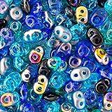 Löchern Moonlite Pferdedecke Lagoon Mix 2,5x 5mm 2Loch Perlen Glas Rocailles 100Gramm-Tasche
