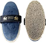Haas Kardätsche - Fellglanz - mit weißem Rosshaar Korpus in stahlblau Damengröße 200x85 für ein perfektes Putzergebnis
