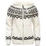 ICEWEAR Brynja Handgestrickter Pullover aus 100 % isländischer Wolle mit Reißverschluss und Kapuze.