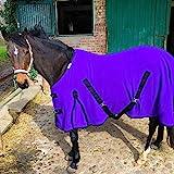 Abschwitzdecke mit Kreuzgurt für Pferde, Ponys – Atmungsaktive Pferdedecke aus Fleece – für schnelles Trocknen & Wärmen (Lila, 115 cm)