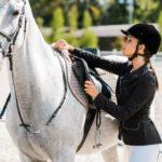 gesatteltes Pferd und Reiterin